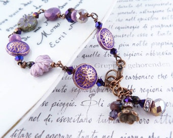 Plum Perfect beaded crystal and copper bracelet