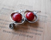 Red Earrings, Funky Pewter Earrings, Pewter Coral Earrings, Coral Earrings, Christmas Earrings, Modern Earrings