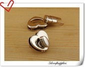 25mm x 29mm ( 1 inch x 1 1/8 inch ) heart Purse lock  twist  purse turn lock clutch clock  bag lock light gold  N32