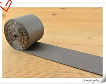 5 yards of 2 inch (5cm) Heavy weight  dark gray Nylon webbing ZD82