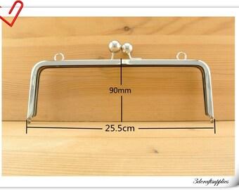 purse frame handbag frame Nickel purse frames  <with loops>  25.5 cm x 9 cm ( 10 inch x 3.5 inch ) Z70