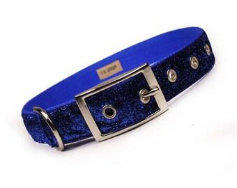 SALE - royal blue sparkle metal buckle dog collar (1 inch)