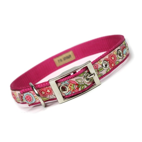 pink jacobean floral metal buckle dog collar (3/4 inch)
