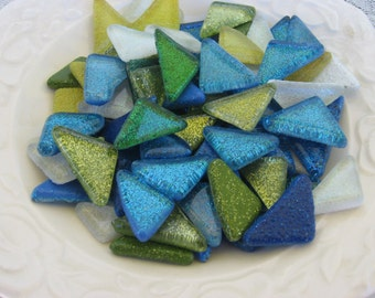 Peacock Blue and Green Mix Glitter Glass Tiles Mosaic Glass Pieces Mosaic Glass Pieces Glitter Glass Smooth Molded Glass Nuggets Glass Gems