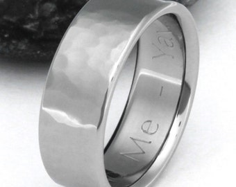 Hammered Titanium Wedding Band - His and Hers Wedding Ring - n22 Flat