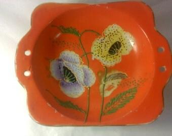 FREE SHIPPING bowl Made in Japan lusterware dish orange vintage (Vault 14)