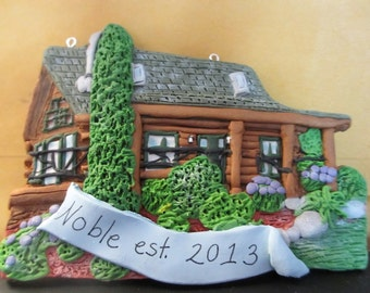 Custom House Ornament -  Log Cabin - Architectural and Landscape Detail