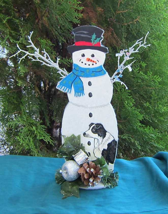 Handpainted Snowman with BORDER COLLIE Wood Figure or Centerpiece Decoration 12""