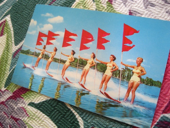 Vintage Cypress Gardens Florida Aqua-Maids postcard - 6 girls on water skis - 1940s