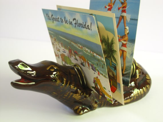 Vintage Florida alligator souvenir letter mail holder - 1950s Florida souvenir alligator