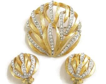 Vintage KRAMER Clear Rhinestone Domed Brooch or Pin & Earrings Demi Parure Set