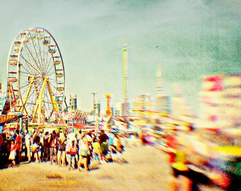 Carnival Photo, Carnival Ride, Ferris Wheel, CN Tower, CNE, Dreamy, Pastels, Nursery Decor, Yellow, Toronto - Toronto Carnival
