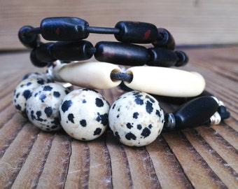 Multistrand Black Leather Bracelet with Dalmation Jasper beads and black beads, One of a kind black and cream bracelet,Free Shipping