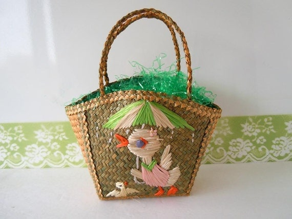 Vintage 1950 Easter Basket Straw Tote Bag Duck Umbrella Childs Spring Tote