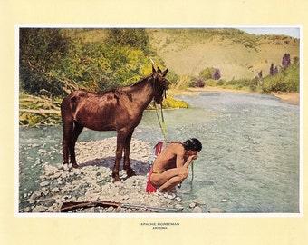 1927 Print of an Apache Horseman, Arizona. FREE U.S. SHIPPING