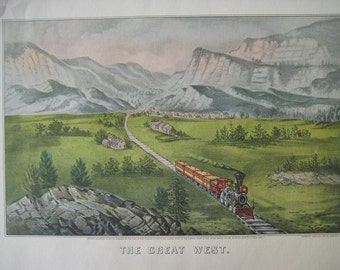 The Great West, Large Antique color Lithograph.  FREE U.S. SHIPPING
