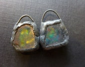 Shimmer beach glass earring pair with solder and flash. Faux Roman glass. 2