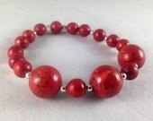 Red Sponge Coral Stretch Bracelet, Red & Silver Bracelet, Red Coral Stretch Bracelet, Chunky Red Coral Bracelet, Crimson Stretch Bracelet