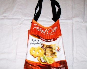 Fun Eco Friendly Purse or Lunch bag made with Pretzel Crisp bags YUM upcycled repurposed