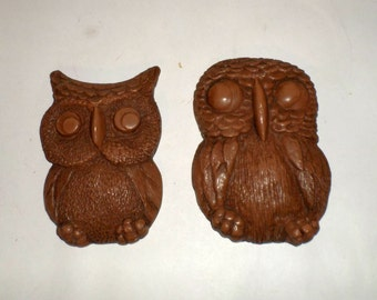 Vintage Wood Owl Wall Hangings - Owl Home Decor - Small Owls - Sleeping Owl - Brown Owls - Pair of Owls