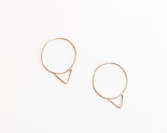 small, 14k gold, hoop, earrings, tiny, delicate, gold filled, triangle, rose gold, sterling silver