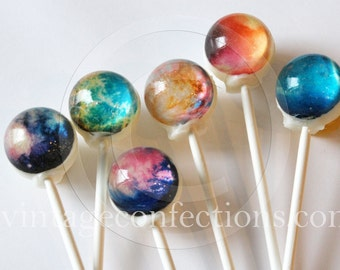6 flavor assortment Nebula space Lollipops by Vintage Confections