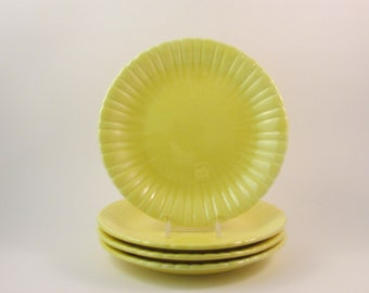 Vintage Stangl Colonial Dessert Plates Yellow Set of Four Pattern 1388