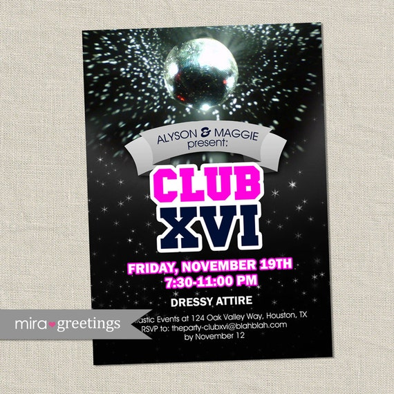 Disco Club Invite or Sweet 16 Birthday Party Invitation - disco ball invitation (DIY Printable Digital File)