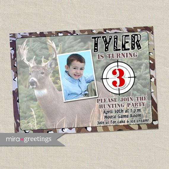 Hunter Birthday Invitations - Hunting Party Invitation - Deer, camouflage, camo invite (Printable Digital File)