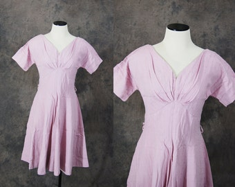 vintage 50s Dress - 1950s Embroidered Pink Dress Party Dress Sz S M