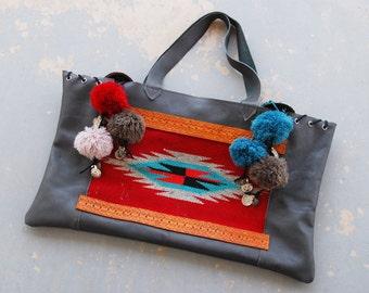 Southwestern Chimayo Patchwork Leather Tote - Gray Boho Huge Shoulder Bag