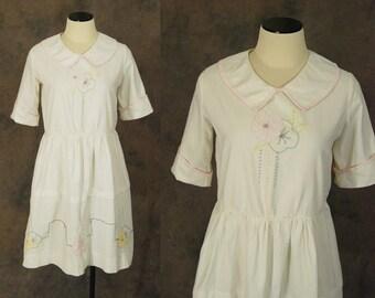 vintage 20s Dress - 1920s Embroidered Cotton Dress - Art Deco Lawn Dress Flapper Dress Sz M