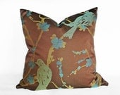 Contemporary Brown Pillow Covers, Bird Throw Pillows, Sea Green, Turquoise Blue, Gold, Decorative Sofa Pillow Case, 18x18, 20x20