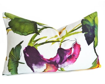 Oblong Watercolor Pillows, Multicolor Floral Pillow Covers, Colorful Pillows, White Purple Pink Yellow, 12x18, 12x20, 16x22, 16x26 Lumbar