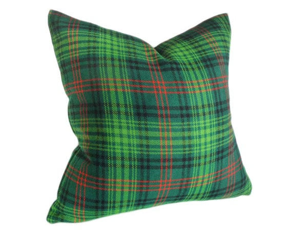 Green Plaid Throw Pillow : Items similar to Green Plaid Pillows, Wooly Throw Pillow in Apple Green Plaid, Eclectic, Dorm ...