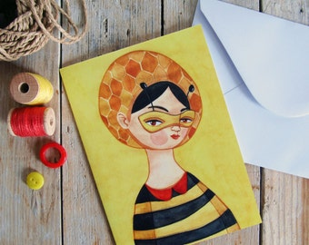 Miss Bee greeting card & envelope illustration