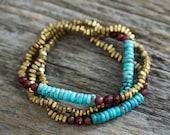 Sleeping Beauty Turquoise Boho Bracelet / Vintage Blue Turquoise, Jade, Brass Ethnic Tribal Beadwork Bracelet / Oxblood, Maroon, Burgundy