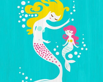 "8X10"" mermaid mother & daughter giclee print on fine art paper. teal, turquoise blue, magenta pink, blonde"