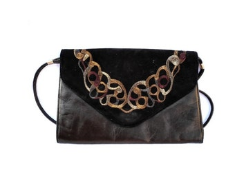 Dark Copper Leather with Embroidered Black Sude