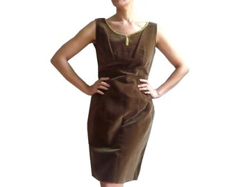 INEZ French Vintage 50s Brown Velvet Dress