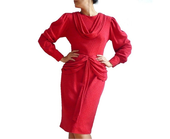 NICOLE French Vintage Red Wool Knit Glamour Dress