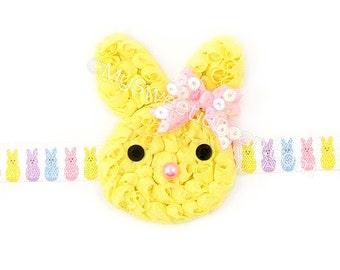 Yellow Bunny Headband, Bunny Elastic, Shabby Chiffon Headband, Children Holiday Spring, Yellow Baby Headband Toddler Girls