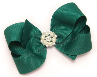 5 inch Bow, Teal Hair Bow with Bling, MTMG Boutique Bow,  Large Grosgrain Bow for Girls, Big Hair Bows for Toddlers, choose from 138 colors