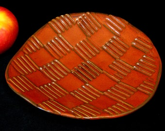 Red Decorative Plate - Dessert Plate - Fruit Plate - Ceramic Plate - Candy Dish - Basketweave - Red Brown Dish - In Stock