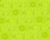 Kozy Kitties Lime Green Cotton Fabric  by Victoria Hutto for Quilting Treasures