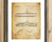 Early 1900s Design for a Submarine patent art print - blueprint art print