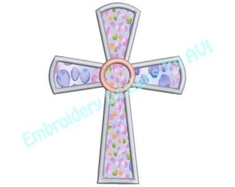 Cross Applique Machine Embroidery Designs 4x4 & 5x7 Instant Download Sale