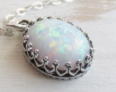 Oval Opal Necklace, White Opal Pendant Necklace, Sterling Silver Chain, Opal Jewelry, October Birthstone Jewelry