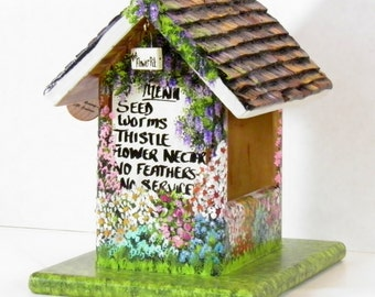 Golden Brown Bird Feeder , the Flower Pit Feeder , with lots of Color