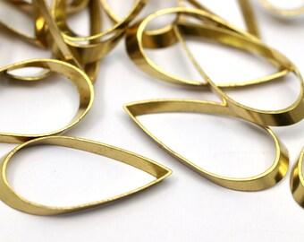 Cutout Brass Finding, 24 Raw Brass Drop Charms (23x11mm) A0639